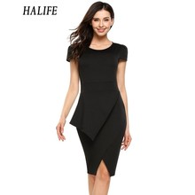 HALIFE Wome Vintage Pencil Work Dresses Summer high Waist Round Neck Cap Short Sleeve Business Office Bodycon Bandage Dress S4(China)