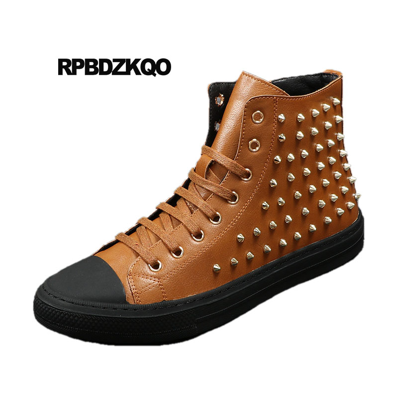 Stud High Top Flat Booties Metalic Sneakers Rock Ankle Shoes Winter Men Boots With Fur Brown Rivet Punk Black Zipper Trainer stud high top flat booties metalic sneakers rock ankle shoes winter men boots with fur brown rivet punk black zipper trainer