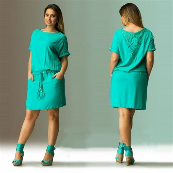 4f01a272f68 2016 Summer Dress Plus Size Women Clothing Large Size Loose Green Lace  Dress Big Size Short Dress 6XL Casual Women Dress