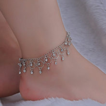 2018 New Fashion Sexy Foot Anklet jewelry beach double drop Crystal tassels anklet dance yoga Gold Silver anklets for women girl(China)
