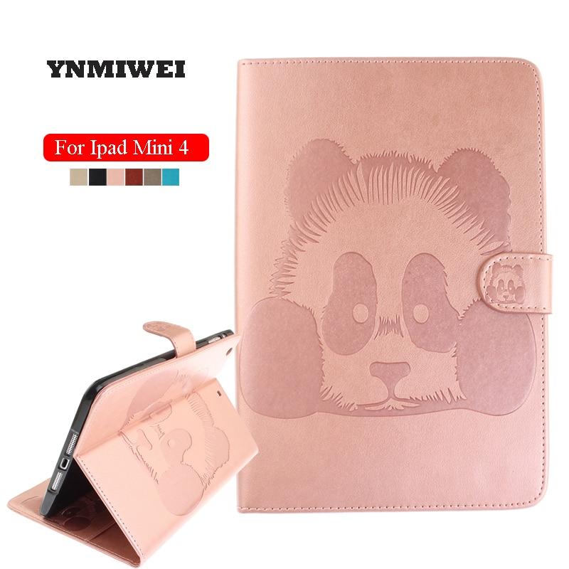 Case For Apple Ipad Mini 4 7.9 Inch Tablet Protective Case Shell Panda Print Folio Folding Smart Sleep Cover YNMIWEI