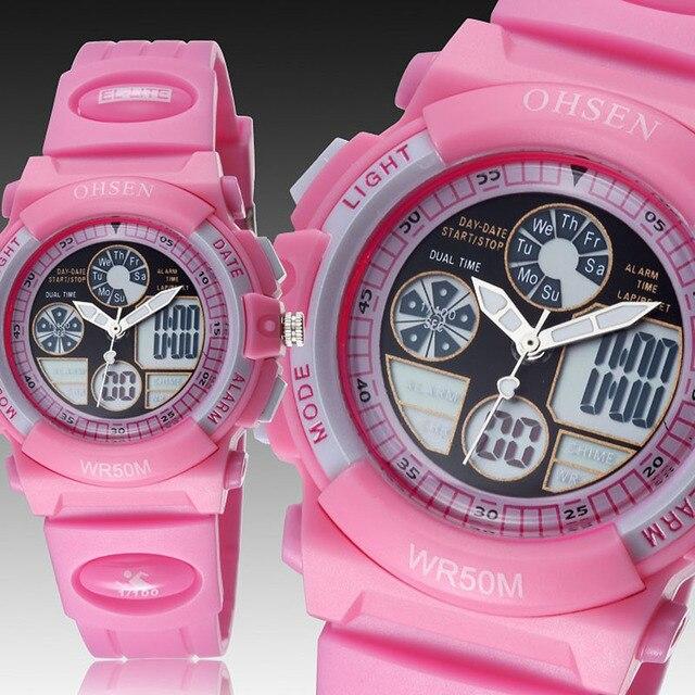 Children Watch Ohsen brand electronic girls cute pink LED Digital quartz wristwatch 30M silicone strap Child cartoon watch gifts