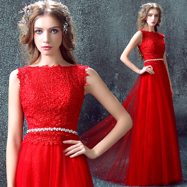 new design sexy red lace appliques Formal prom gown 2018 crystal sashes vestido longo long robe de soiree   bridesmaid     dresses