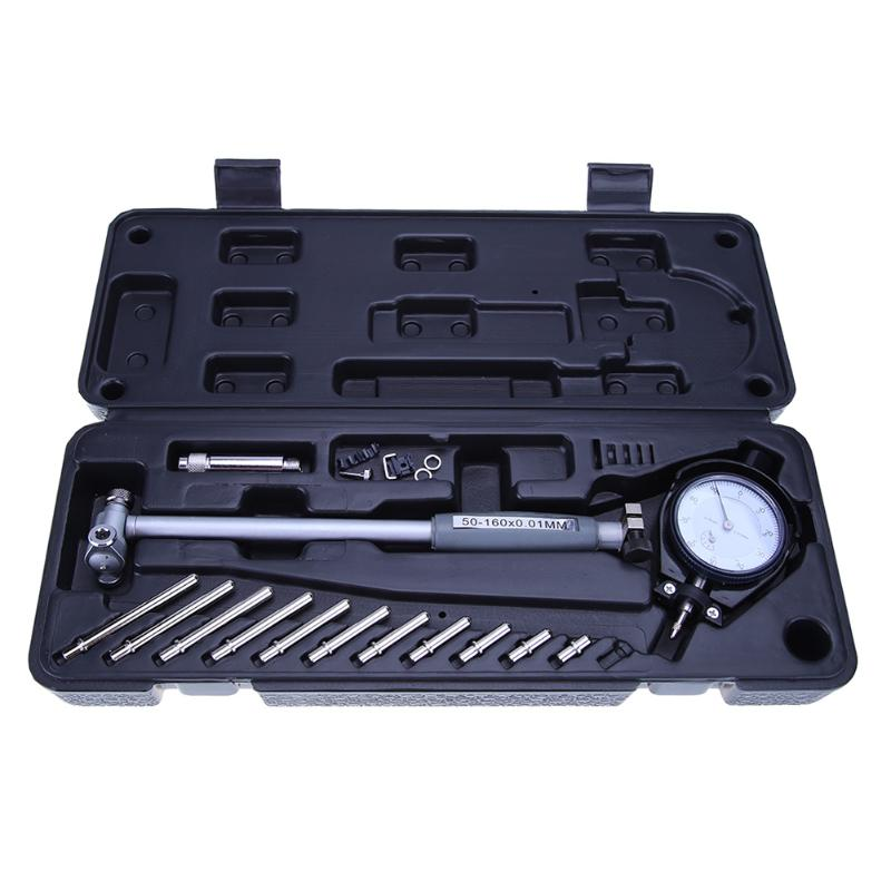 2018 New Arrival Dial Bore Gauge 50-160mm/0.01mm Center Ring Dial Indicator Micrometer Gauges Measuring Tools 6pcs telescopic gauge set micrometer measurement bore engineers kits 8 150mm y103