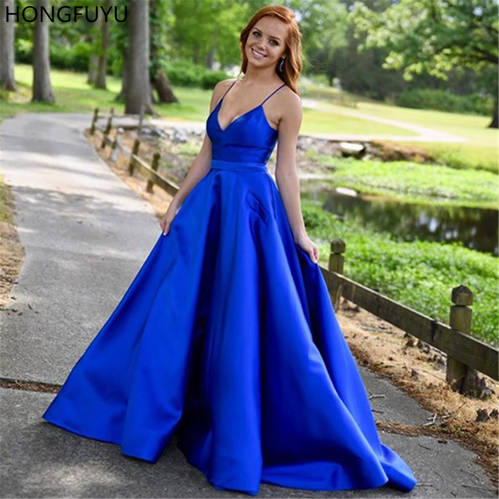 HONGFUYU A-line Spaghetti Straps Prom Dresses Satin Formal Evening Gowns Sleeveless Party Dresses Robe De Soiree Long Elegant