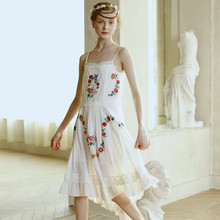 LYNETTE'S CHINOISERIE Embroidery small anthocaulus cotton cloth dovetail spaghetti strap one-piece dress