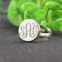 3mm Thickness 3 Initals Customized Name Rings color 925 Solid Silver Personalized Monogrammed Men Engagement Rings