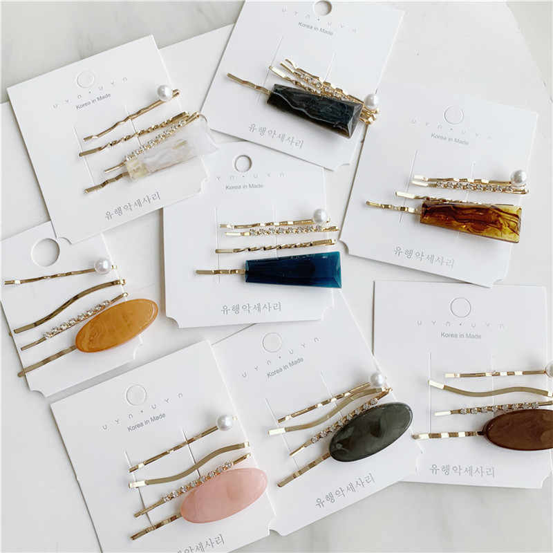 3pcs Barrettes Set Pearl Hair Pins Fashion Jewelry Accessories Mujer Korean Big Acrylic Gold Clip Headpiece Girls Headwear 2019