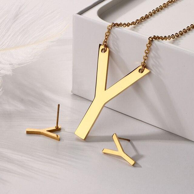 430cfd1834fa Grande personalizado letra inicial collar colgantes de acero inoxidable oro  Color inicial joyería pendientes Conjunto para
