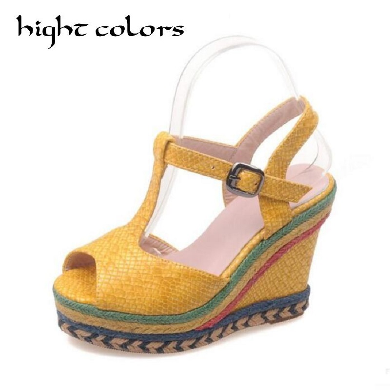 Sexy Open toe Weave Patch Color Wedges Gladiator Sandals Women High Heels Platform Sandals Summer Women's Shoes Woman summer shoes woman platform sandals women soft leather casual open toe gladiator wedges women nurse shoes zapatos mujer size 8