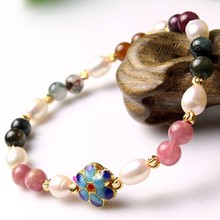 SOUAIME Natural Tourmaline Hand String Natural Pearl Bracelet DIY Fashion Jewelry Broccoli Crystal Bracelet Jewelry Lady Gift