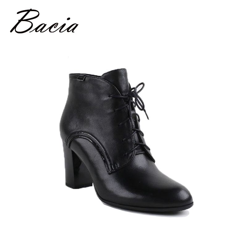 Bacia New Ankle Boots Fashion Retro Black Warm Women Shoes Handmade High Quality Spring Autumn Winter Short Plush Boots VC008 bacia women high heels ankle boots genuine leather shoes warm short plush inside autumn fashion pure black botas mc023