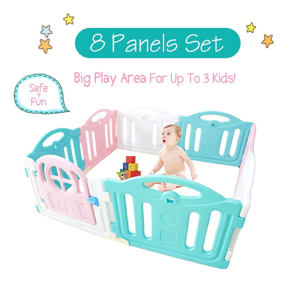 Baby Playpen with Gate Toddler Kids Nursery Activity Area Space Play Center Indoor Outdoor Plastic Panel