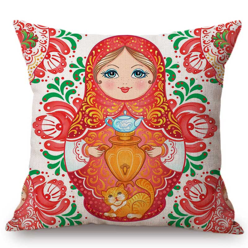 Cute Moscow Souvenir Matryoshka Russian Doll Pattern Home Decoration Sofa Throw Pillow Case Russia Style Linen Cushion Cover