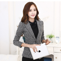 Slim Fit Suit Jacket Women Sleeve Length 2017 Spring Blazer Ladies Jackets And Blazers Giacca Donna