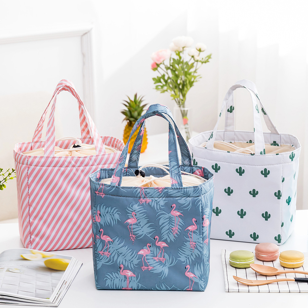 New Fresh Insulation Cold Bales Thermal Oxford Lunch Bag Waterproof Convenient Leisure Bag Cute Flamingo Tote Creative Ice Pack