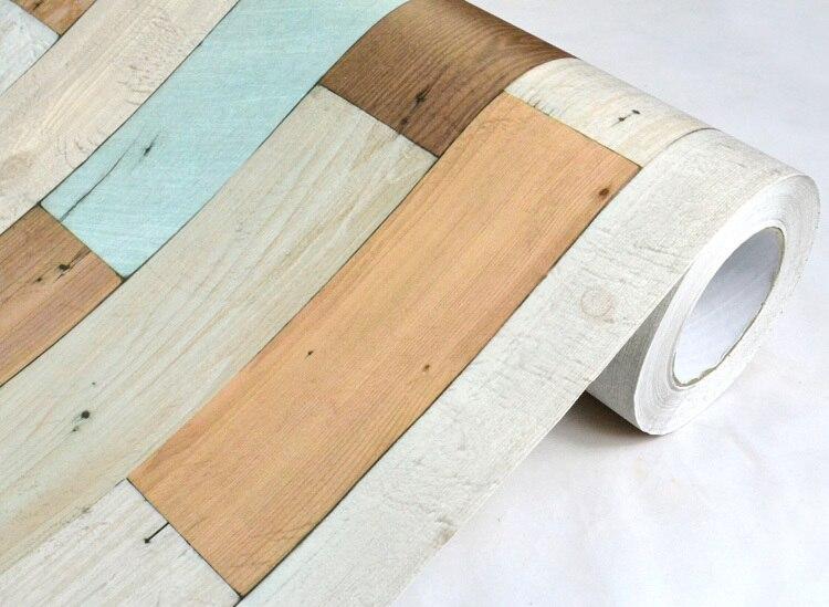 Nouveau papier peint effecteur bois massif film étanche papier peint autocollant cuisine