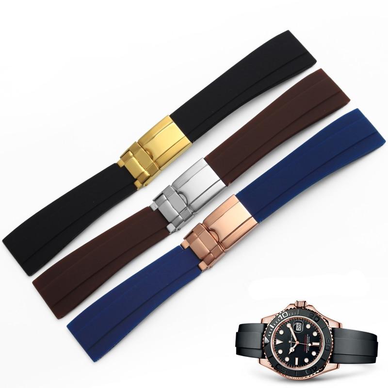 """חמה למכירה 20 מ""""מ גברים חדשים רצועת השחור ליידי רצועת שעון גומי סיליקון חגורת רצועת אבזם פריסת סוף שטוח יוקרה אבזם"""
