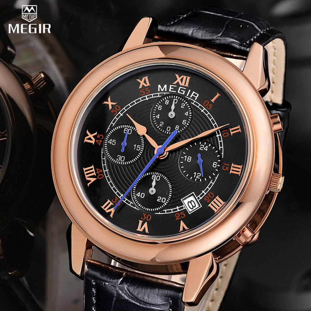 Prix pour Megir multiple fuseau horaire hommes de quartz montre de mode en cuir style militaire analogique poignet montre homme chronographe marque montres