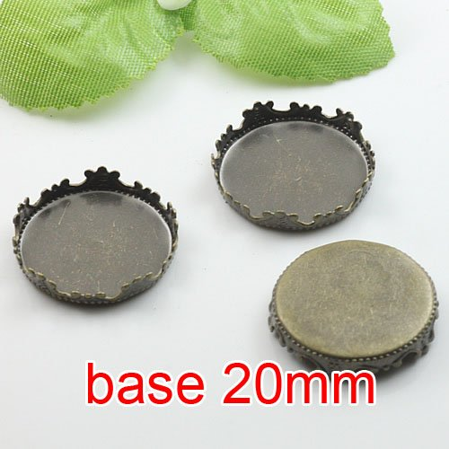 Free shipping!!! 400pcs imperial crown bronze Picture Frame charms Pendants 20mm,Cameo Cab base,pendant settings