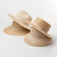 01901 hh7252 summer natural Treasure grass handmade fedoras cap men women holiday leisure panama hat