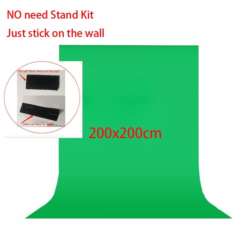 No Need Stand Kit 2x2meter Non Woven Black Green White Photo Background For Photo Studio Screen Chroma Key Background Backdrop