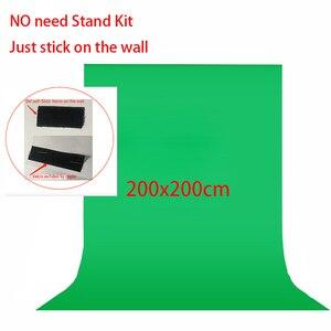 Комплект для фотосъемки, не требующий подставки, 2x2 метра, не тканый, черный, зеленый, белый, для фотостудии, экран Chroma key, фон для фотосъемки