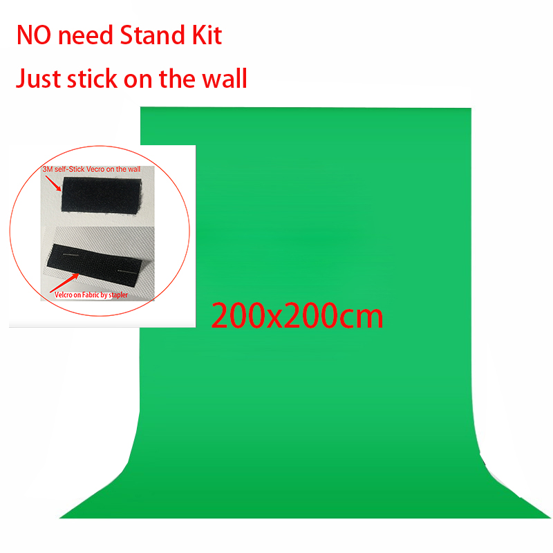 No Need Stand Kit 2x2meter Non Woven Black Green White Photo background for Photo Studio Screen Chroma key Background Backdrop