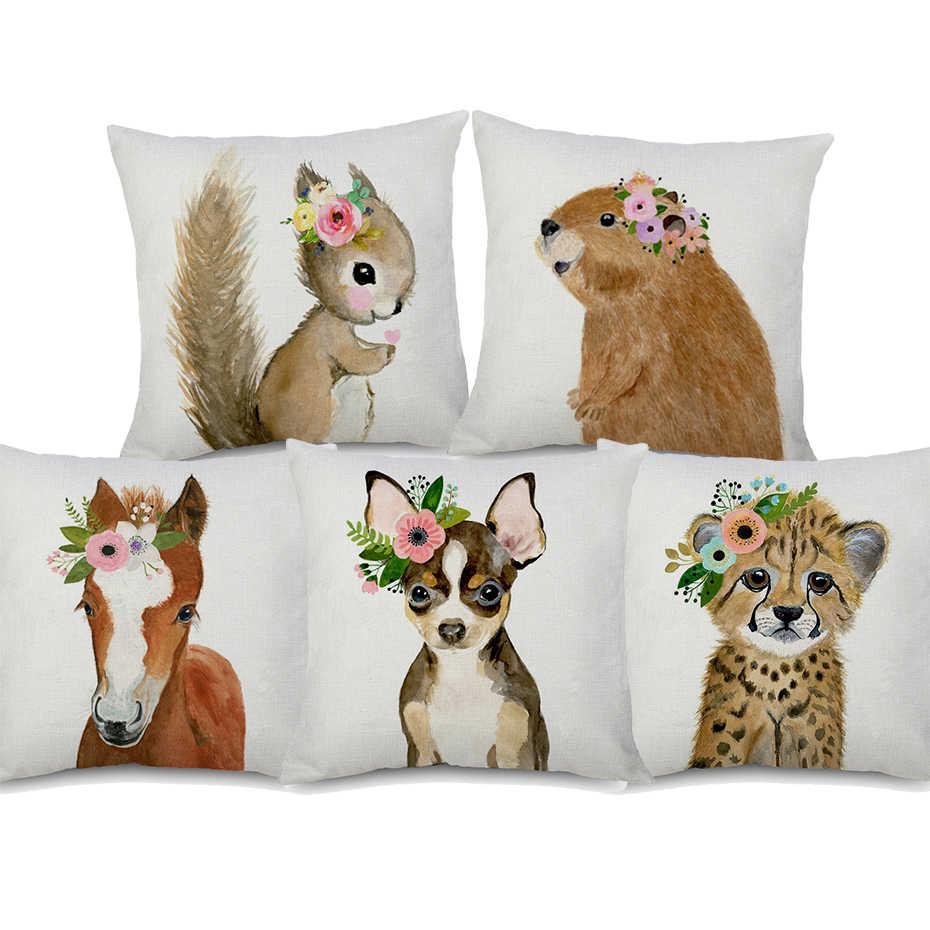 Ежик с гирляндой детская лиса олень собака белка животное Чехлы для подушек наволочки для спальни украшение дивана 45X45 см 95 г