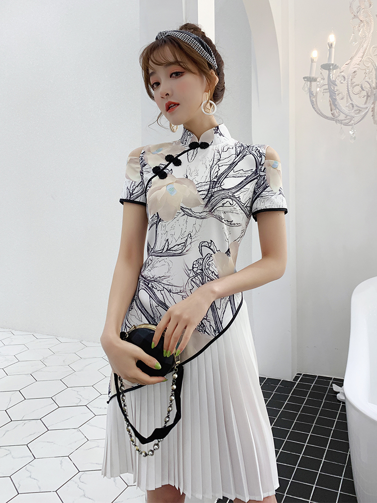 In Improvement Of New Style Cheongsam Young Fund Girl Daily Grace Dress Short Fund The Republic