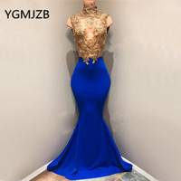 Gold Lace Evening Dresses Long 2019 Mermaid High Collar Sleeveless Backless Saudi Arabic Women Formal Prom Gown Party Dress