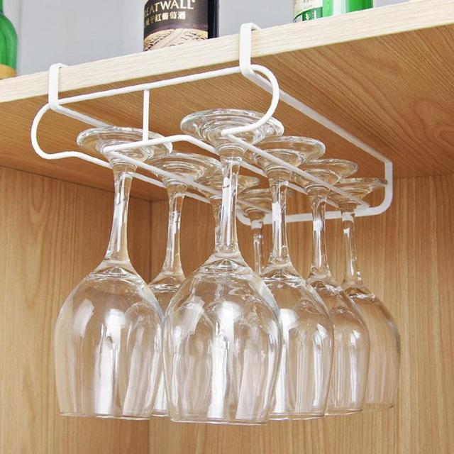 1pc Stainless Steel Wine Glasses Holder Goblet Rack Kitchen Bar Wall