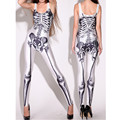 2016 Newest Sexy print  Bodysuit sexy Sleeveless  jumpsuit women rompers bodycon sexy catsuit Human skeleton skull slim jumpsuit