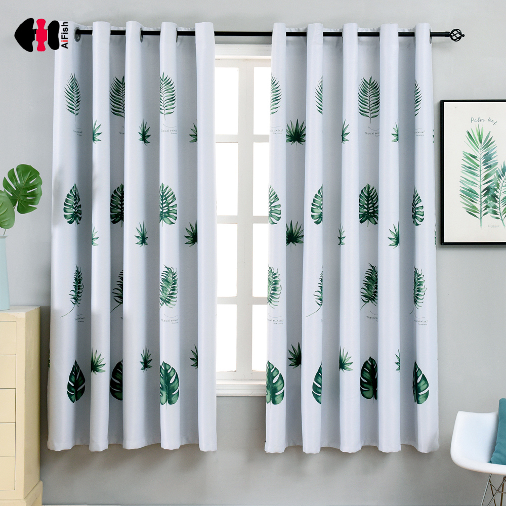 1 PCS W100xL200cm Chinese Banana Printed Curtains For Kids Nursery Small Window Kitchen Door Balcony Panels PC014C(China)