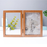 6/7inch Double Sided Photo Frame Vintage Wood Picture Frame Plant Botanical Specimen Holder Wedding Family Picture Display Stand