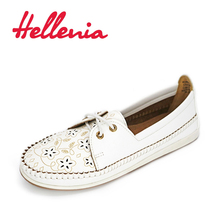 Hellenia 2017 Fashion  Flat Shoes Woman Rounded white Laser cut Autumn Spring