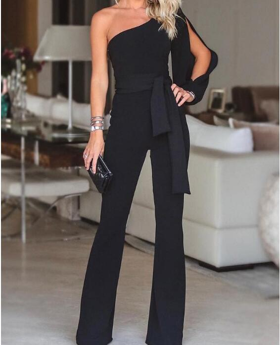Summer Women Fashion Office Lady Solid   Jumpsuit   Stylish One Shoulder Slit Sleeve Black   Jumpsuit   Party Wear Plus size 2XL