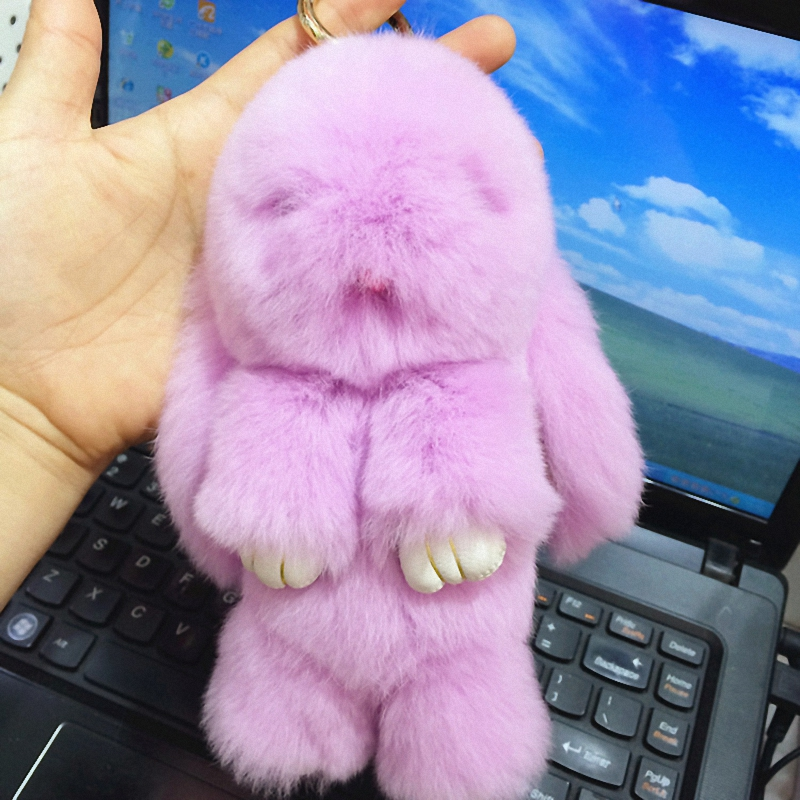18cm Rex rabbit Furs Keychain Pendant Bag Car Charm Cute Mini Rabbit Toy Doll Re