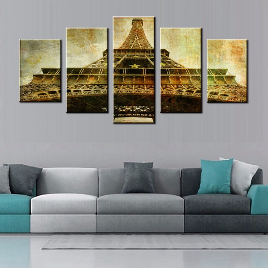 Wall Art Yellow Picture Print on Canvas Vintage Tower Paris Famous Architecture for Office Bedroom Home Wall Decor Fashion Gift