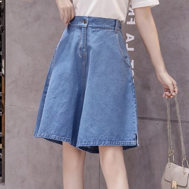 Knee Length Denim Shorts Female Summer 2019 New Loose High Waist Wide Leg Short Pants A-Line Shorts Blue Short Pants