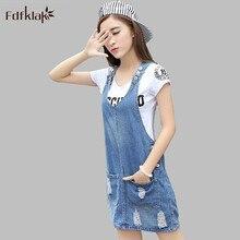 b7d7afb8b5 Fdfklak Spring Summer Denim Dresses Casual Jeans Korean With Pocket Dress  For Woman