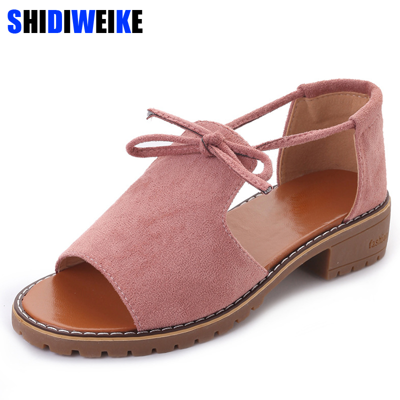 SHIDIWEIEK Brand 2019 New Thick With Sandals Female Summer Fish Mouth Buckle Roman Shoes Solid Color Low-heeled Women Sandals