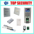 ZK F18 biometric fingerprint access control system with 12V power supply, Aluminium alloy exit button, electric lock, door bell