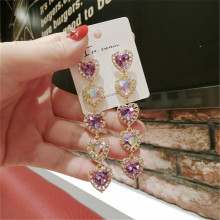 Korea Handmade Heart Purple Crystal Rhinestone Women Drop Earrings Dangle Fashion Jewelry Accessories-QQD5