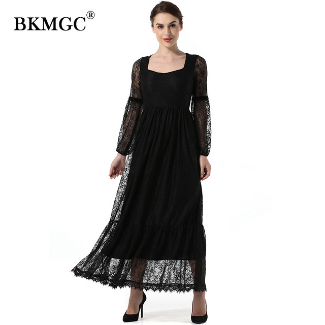 X601 New Custom color Dress Autumn Elegant Square Collar Long Lantern Sleeve Lace Vintage Lace Chiffon
