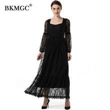 X601 New Custom color Dress Autumn Elegant Square Collar Long Lantern Sleeve Lace Vintage Lace Chiffon Net yarn OL Dresses