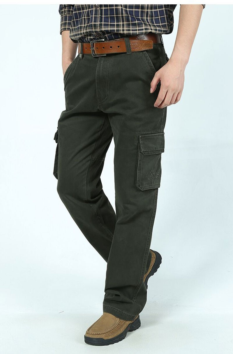 2015 New Autumn Winter Men\'s Cotton Cargo Long Pants High Quality Casual Straight Thick Pants Plus Size Trousers AFS JEEP 30~44 (7)