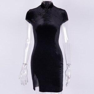 Image 4 - Женское платье в китайском стиле, готическое облегающее мини платье Чонсам, летнее винтажное черное платье в стиле Харадзюку, 2019