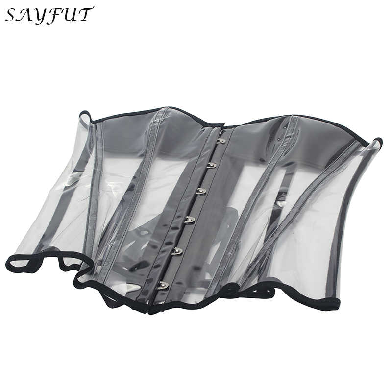 0ad995a2f4e ... SAYFUT Transparent Bustiers Corsets Women Buckle-up Waist Trainer  Steampunk Overbust Corset Slim Top With ...