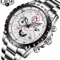 Watches Men Top Brand LIGE Fashion Men Sport Quartz Clock Mens Watches Full Steel Business Waterproof